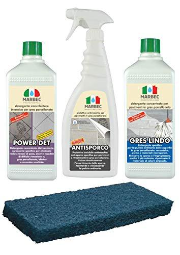 Marbec - GRES PORCELLANATO | Promo Kit Completo di Prodotti SPECIFICI per LA Pulizia STRAORDINARIA E ORDINARIA dei Pavimenti in GRES PORCELLANATO