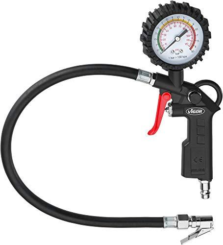 Vigor Reifenfüller (0 bis 8,5 bar, extra Langer Schlauch: 500 mm, Gewicht: 0,49 kg) V6905,...