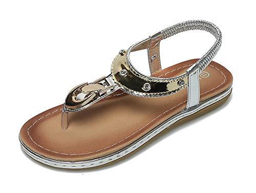 Sandalias planas con clip para mujer, sandalias de verano, playa, vacaciones, ocio, cómodas, modernas y casuales, 123, plata, 36