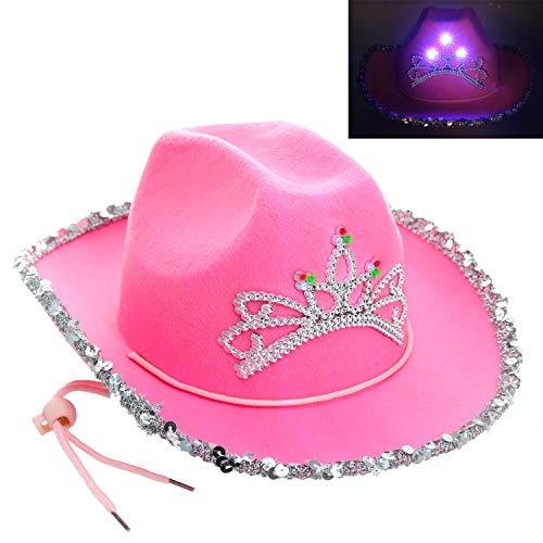GIFTEXPRESS CHILD LED Blinking Pink Tiara Cowgirl hat - CHILD SIZE