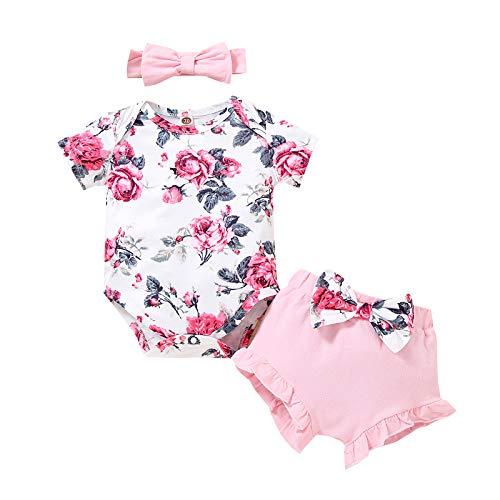 Carolilly 3 Pezzi Completo Neonata Estivo Pagliaccetto Manica Corta Stampa Floreale+Pantaloncini+Fascia con Fiocco Tutina Baby Tuta Neonata Cotone 0-18Mesi (Rosa, 12-18 Mesi)