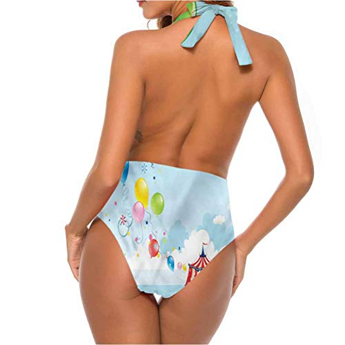 Two Piece Swimsuits Circus, Carnival Tent Balloons So Comfortable and Flattering