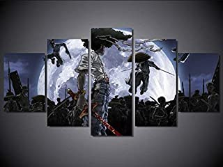 Artwcm Afro Samurai Oil Paintings Modern Canvas Prints Artwork Printed on Canvas Wall Art for Home Office Decorations-972 (Framed,5PCS)