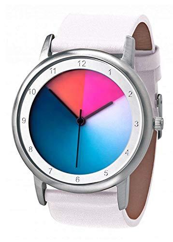 Rainbow Avantgardia Classic Unisex Quarzuhr, Armband: weißes Echtlederarmband