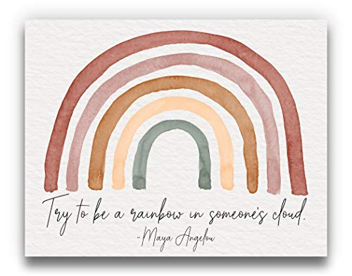 Maya Angelou Quote 'Be a Rainbow' Watercolor Wall Art | Terra Cotta Neutral 14x11 UNFRAMED Bohemian Print - Positive, Inspirational, Typographic, Motivational Home Decor