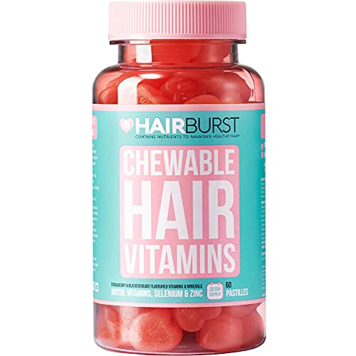 Hairburst Kauwbare haarvitaminen - Levering van 1 maand - 60 Gummies - Biotinehaarvitaminen voor groei en haarverlies - voor langer, sterker en dikker ogend haar