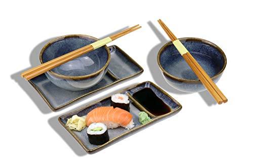 Juego de sushi Misaki para dos personas, 2 platos de sushi, 2 cuencos de cerámica, 2 pares de palillos de bambú...