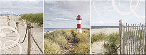 artissimo, Glasbild, 80x30cm, AG1961A, Holiday, Strand und Meer, Leuchtturm, Bild aus Glas, Moderne Wanddekoration aus Glas, Wandbild Wohnzimmer modern