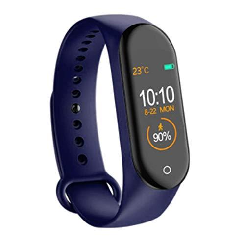 LYB Smart Watch Smart Pulsera SmartWatch Pulsera Tasa del Corazón Y Monitor De La Presión Arterial Tracke Impermeable Fitness (Color : Blue)