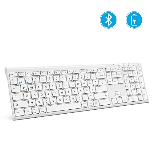 Jelly Comb Bluetooth Tastatur, Ultra-Dünn wiederaufladbare kabellose Tastatur Full-Size Multi-Device Funktastatur kompatibel für iPad, iPhone, Android-Tablets, Windows, iOS, Mac OS