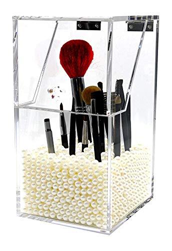 PuTwo - Porta pennelli per trucco, contenitore in acrilico antipolvere, organizer per trucco, colore rosa perla, piccolo, 1060grammi