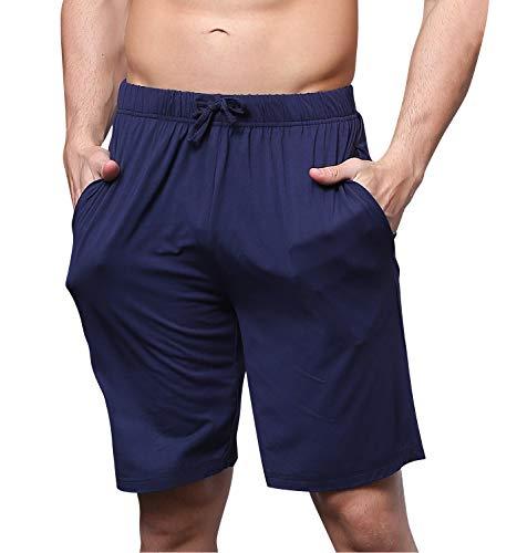 YAOMEI Herren Schlafanzughose Hose Shorts kurz, Modale Baumwolle unterwäsche Boxershorts Nachtwäsche Trunk Pyjamahose verstellbarem Elastik-Bund Taschen Schlafen Freizeit (Blau, 6XL)