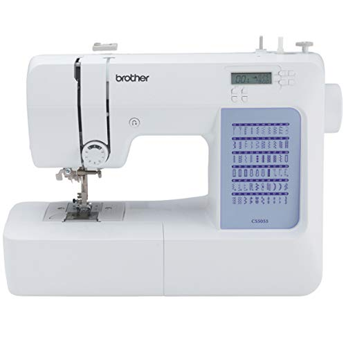 Brother CS5055 Computerized Sewing Machine, 60 Built-in Stitches, LCD Display, 7 Included Feet, White