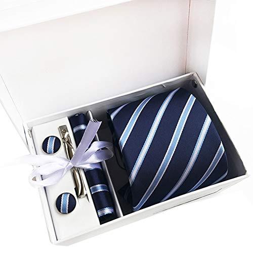 JUNGEN Corbata con pañuelo para Hombre Corbata Estampada de Rayas Caja de Regalo Corbata con Pañuelo Gemelos Clip de Corbata Corbata Lisa Corbata Elegante de Regalo Azul Oscuro