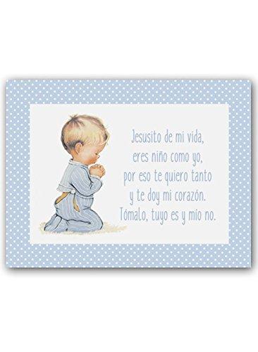 CUADRIMAN Cuadro de Niño Rezando con Oración - Grande - Lienzo Topito Celeste - 33 x 43 cm - Decoración para El Dormitorio o Habitación