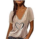 YXIU Camiseta para mujer con cuello en V, blusa, camisa elegante, casual, tops, túnica, Caqui A., M