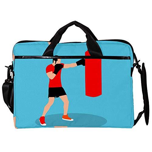 Boy Boxing Punching Bag Laptop Shoulder Bag Tote Bag Canvas 15-15.4 inch Computer Bag for Business/Work/School/Travel 38x28cm
