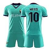10# Messi Kids Football Jersey Set-Athlete's Jersey Teenager Sportswear Mesh Secado rápido de Manga Corta Ventiladores Sudadera-Green-XXXXS
