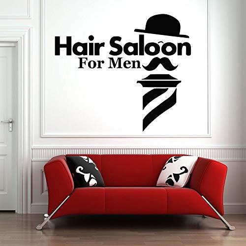 Tianpengyuanshuai Wandtattoos Friseursalon Mann Kunst Wandaufkleber Dekoration Hut Bart Muster Friseur abnehmbar 63X72cm