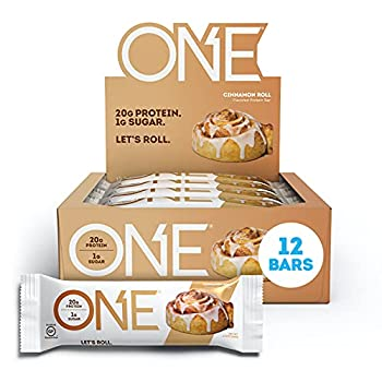 ONE Protein Bars Cinnamon Roll Gluten Free Protein Bars with 20g Protein and Only 1g Sugar Guilt-Free Snacking for High Protein Diets 2.12 oz  12 Pack