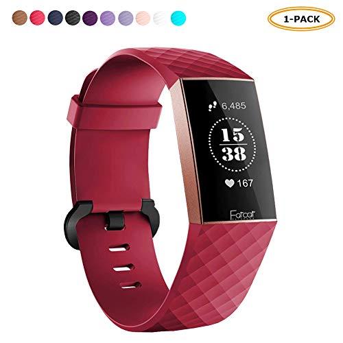 FatcatBand Correa para Fitbit Charge 3, Edición Especial Soft Silicona Deportes Recambio de Pulseras Ajustable Reemplazo Accesorios para Reloj Fitbit Charge 3 (#1-Pack Rojo,tamaño Grande)