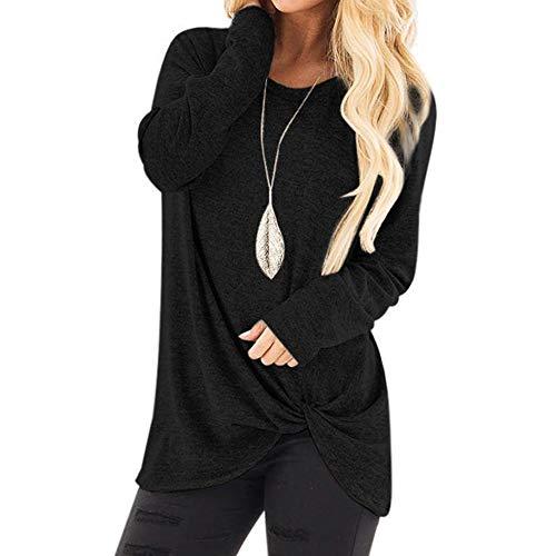 Vrouwen Mode Losse Lange Mouw Sweatshirt - Dames Effen Kleur O-Hals Casual Baggy T-Shirt Blouse Tops