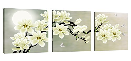 Natural art – White Magnolia & Butterfly Under the Moon Modern...