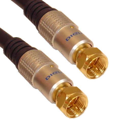 Cable Mountain Deluxe 3 Metre Gold Shielded F-TYPE RG6 Satellite Cable Coaxial