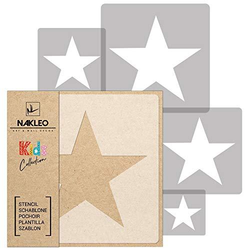5 Stück wiederverwendbare Kunststoff-Schablonen // STERN // 34x34cm bis 9x9cm // Kinderzimmer-Dekorarion // Kinderzimmer-Vorlage