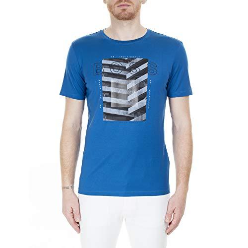 BOSS - Camiseta de cuello redondo y media manga bluette de algodón para hombre azul (bluette) S