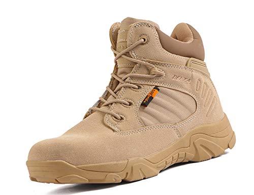 IYVW 5.AA 517 Botas de Caza para Hombre Botas Tácticas Botas Militares de Combate de Tiro con Cordones Zapatos Ligeros para Todo Terreno para Senderismo, Trabajo Amarillo Desierto 45 EU