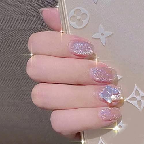 24 pièces faux ongles avec design Aurora White Butterfly Crystal court patch de manucure amovible Faux ongles pour gils