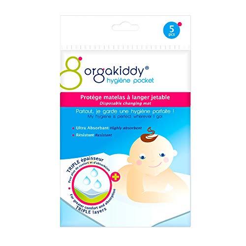 Orgakiddy - Protector de cambiador desechable, 5 unidades, color blanco