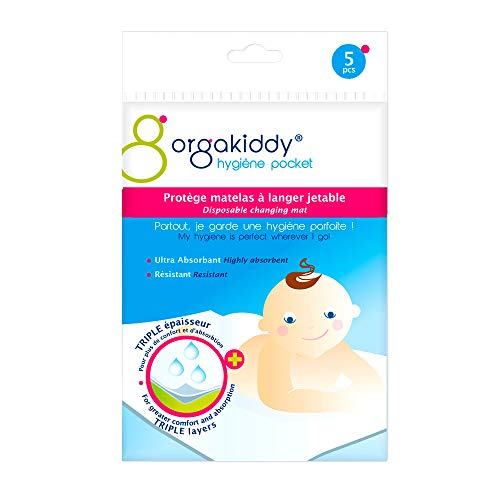 Orgakiddy - Coprimaterasso per fasciatoio, usa e getta, 5 pezzi, colore: Bianco