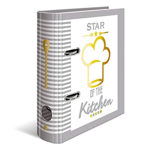 HERMA 15415 Rezeptordner DIN A4 Star of the Kitchen zum Selberschreiben, 7 cm breit aus stabilem Karton mit Goldfolienprägung und 5-tlg. Register, Rezeptbuch, Motivordner, 1 Ordner