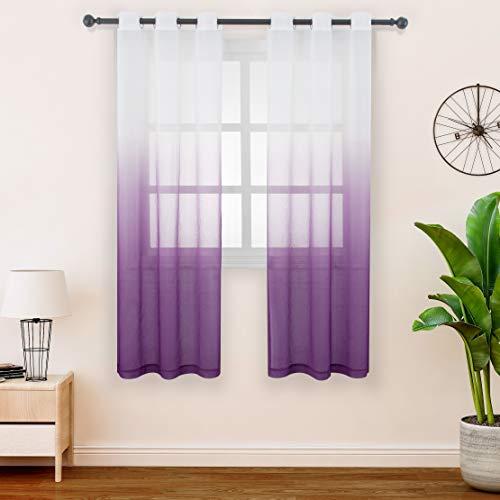 FLOWEROOM Gardinen/Vorhang Transparent Voile für Schlafzimmer und Wohnzimmer, 107 x 145 cm, Violett – Gardine Farbverlauf Fenster Vorhänge mit Ösen, Sheer Curtains 2er Set