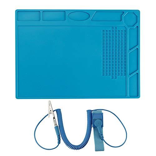 Alfombrilla de silicona para soldar, 500 °C, resistente al calor, antiestática, con correa de muñeca ESD, para reparación de teléfonos inteligentes, tabletas, relojes, portátiles, cámaras, etc.