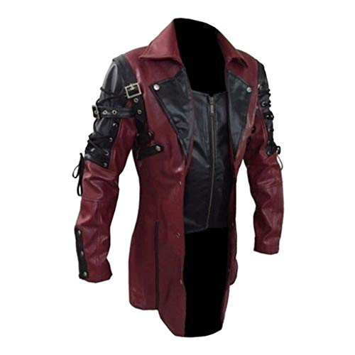 Mens Steampunk Faux Leather Matrix Trench Coat Victorian Gothic Red Jacket Full Zipper Renaissance Halloween Cosplay Costume