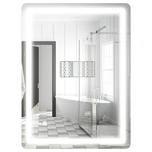 COSTWAY LED-Spiegel 80 x 60cm, Badspiegel mit Beleuchtung, Badezimmerspiegel mit Touchschalter, Wandspiegel fürs Badezimmer, Lichtspiegel kaltweiß