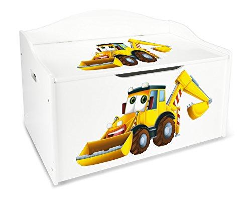 Leomark Kinderbank Hölzerne - Bagger XL - Kindertruhenbank, Behälter für Spielzeug, Truhe für Kinderzimmer, Kindermöbel, Sitzbank Höhe: 46 cm