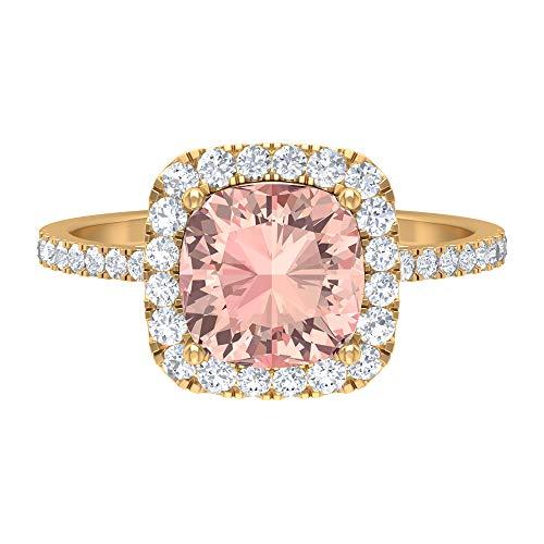 Anillo de halo de morganita creado por laboratorio, piedras preciosas de 2,60 quilates, diamante HI-SI 8 mm, anillo de compromiso con piedra lateral, 14K Oro amarillo, Size:EU 60