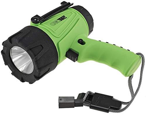 ChiliTec GeoCashing - Linterna LED (5 W, 330 lúmenes, resistente al agua, recargable, con batería y cargador USB)