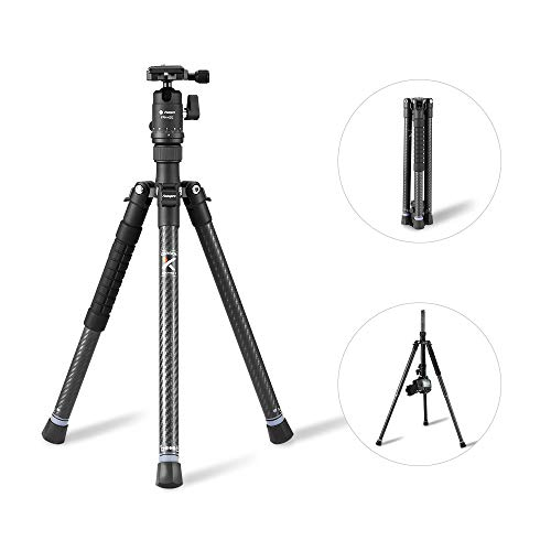Kamera Stativ, Fotopro leichtes Stativ 48 Zoll Carbon Fiber Fotostativ mit Kugelkopf Schnellwechselplatte für Nikon/Sony/Pentax/Canon, Schwarz