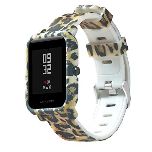 Saisiyiky 20mm Correa y Funda Protector Compatible con GTS Pulsera/Ajustable para Smartwatch Reemplazo de Correa Banda de Silicona (Leopardo)
