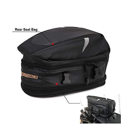Jinyao - Mochila para asiento trasero de moto. Resistente al agua, de alta capacidad, multifuncional, duradera, y para almacenamiento de cascos