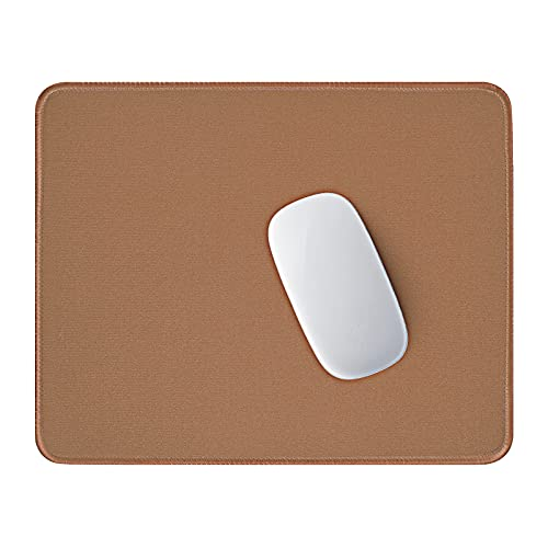 Hsurbtra Mouse Pad, Premium-Textured Square Mousepad 10.2 x 8.7 Inch, Stitched Edge Anti-Slip Waterproof Rubber Mouse Mat, Pretty Cute Mouse Pad for Office Gaming Laptop Women Kids Leather Brown