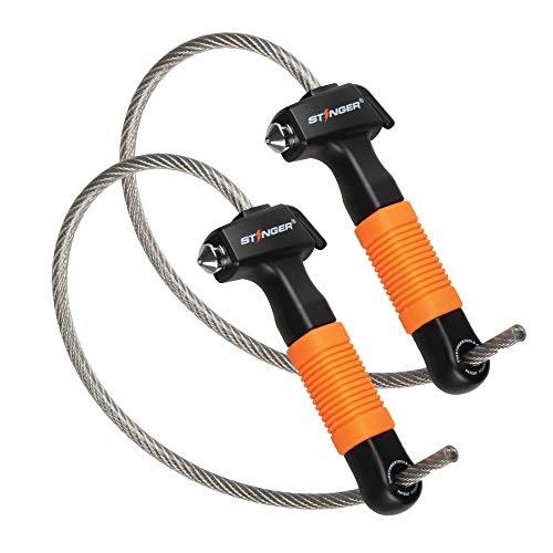 STINGER USA Life-Saving Whip Car Emergency Escape Tool: Hardened Steel Car Window Breaker Hammer, Seat Belt Cutter, Non-Slip Rubber Handle Grip, Orange Color (2 pcs Bundle)
