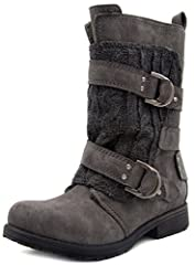 """8"""" Shaft Height from Heel to Top Inside Zip Closure Cable Knit Overlay Shearling Lining Wraparound Buckles"""