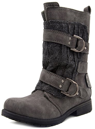Rampage Womens Jelly Winter Moto Boot with Cable Knit Overlay 8 Grey