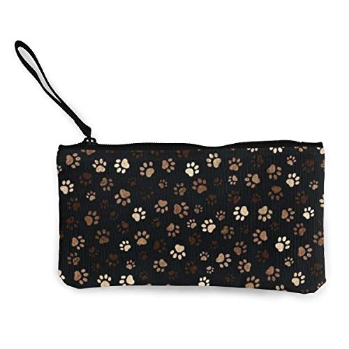 Coin Purse, Dog Paw Print Canvas Vintage Zip Wallets voor Party Shopping Walking, 22(L) x12(W) cm